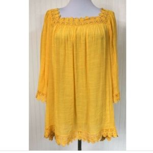 Avenue NWOT Boho Blouse Crochet 14/16 1X Yellow